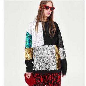 ZARA Sequin Sweatshirt